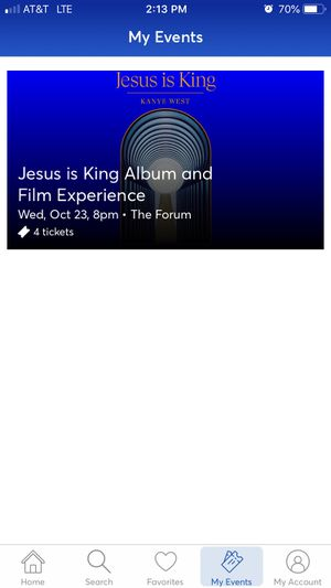 4 Kanye West Jesus is King Album and Film Tickets - Forum LA SOLD OUT 10/23 WED for Sale in Beverly Hills, CA