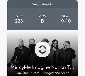 Two Mercy Me tickets - Great Seats for Sale in Mount Juliet, TN