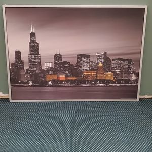 """HUGE (55"""" W x 39.5"""" H x 1.25"""" D), FRAMED WALL ART - PHOTO PRINT of CHICAGO at NIGHT - firm price. for Sale in Arlington, VA"""