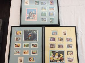 Disney Stamps framed Alice in wonderland, Mickey Mouse, Goofy Lot of 3 for Sale in Lakewood, CA