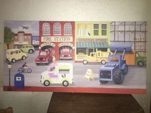 Fire Station & Town Children's Canvas Painting for Sale in Akron, OH