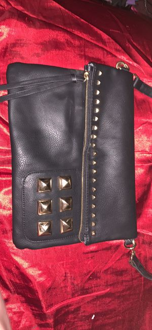 Black purse with gold pyramid studs for Sale in Jersey Shore, PA