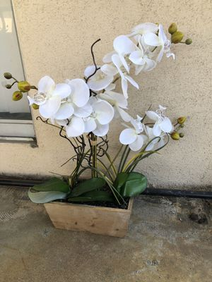 Nice fake orchid plant in little wood box for Sale in San Dimas, CA