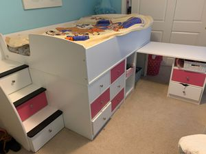 Pink and white full sized loft bed with pull out desk and storage drawers for Sale in Pickerington, OH