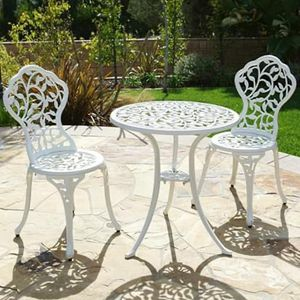 SHIPPING ONLY 3 Piece Patio Furniture Bistro Set Antique Outdoor Leaf Design White for Sale in Las Vegas, NV