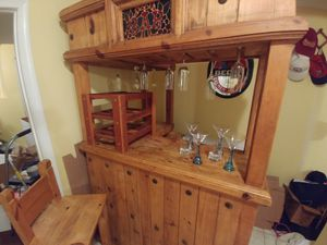 Authentic Knotted Pinewood Bar with stools moving asap for Sale in Alexandria, VA