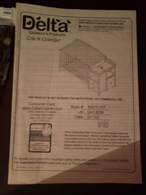 Delta Crib N Changing table for Sale in Arlington, TX