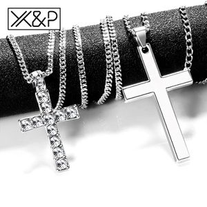 X&P Crystal Cross Long Silver, Black, Gold Chains Necklaces for Women Men 2019 Fashion Christian Stainless Steel Link Chain Necklace Jewelry for Sale in Aspen Hill, MD
