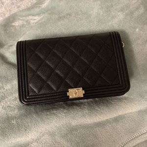 Chanel 20c Boy Wallet on Chain - Black, Cavier Leather for Sale in Garden Grove, CA