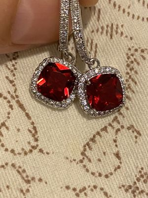 Cute Red Stone Silver Earrings Brand NEW for Sale in Dallas, TX