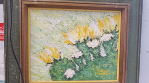 Brained painting beautiful flowers Orange and green Marion Hamilton for Sale in San Antonio, TX