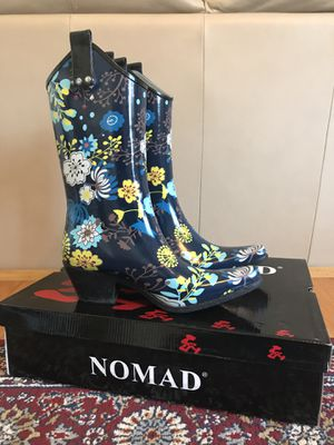 Women's Nomad Yippy Cowgirl Rain Boots Navy Garden Size 7 for Sale in Fort Meade, MD