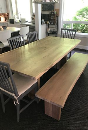 "Crate and Barell 76"" shitake dining table, chairs and bench for Sale in Bellevue, WA"