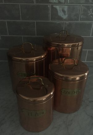 Golden kitchen storage containers (set of 4) for Sale in Vernon Hills, IL