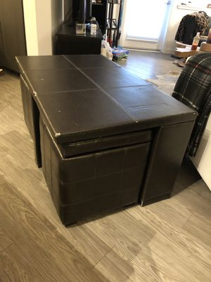 3 piece leather coffee table with 2 storage ottomans for Sale in San Jose, CA