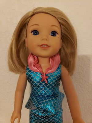 American Girl Wellie Wishers Camille doll with Marvelous Blue Mermaid outfit. for Sale in Boulder, CO