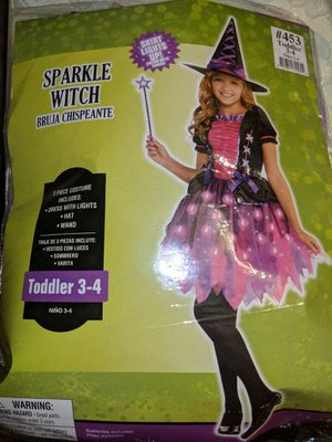 Girls Light-Up Sparkle Witch Costume (Toddler 3-4) for Sale in Annandale, VA