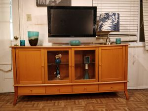 Nice wooden buffet/ TV stand for big TVs with 4 drawers, cabinets and glass shelves in very good condition, all drawers working well for Sale in Annandale, VA