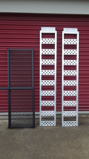 Steel hitch cargo basket and a set of aluminum ramps. for Sale in Fairfield, OH