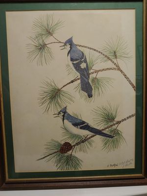 """J. Burton signed """"Artist Proof""""Beautiful Blue Jays painting for Sale in Piedmont, SC"""
