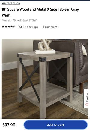 """18"""" Square Wood and Metal X Side Table in brown for Sale in Bakersfield, CA"""