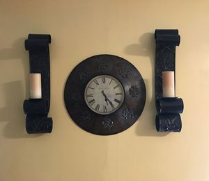 Candle holder with fisherman clock set. for Sale in Petersburg, VA