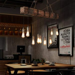 10-Lights Chandelier Wooden Retro Rustic Pendant Light - Industrial Suspension Light line can be Adjusted Freely for Sale in Los Angeles, CA