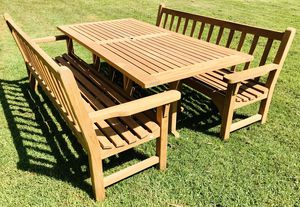 Kingsley Bate Quality Teak benches & a table / patio / dining / outdoor / home & garden / furniture/ cushion optional / for Sale in Chula Vista, CA