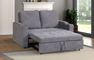 Brand New Grey Linen Sleeper Sofa Futon w/Cup Holders for Sale in Silver Spring, MD