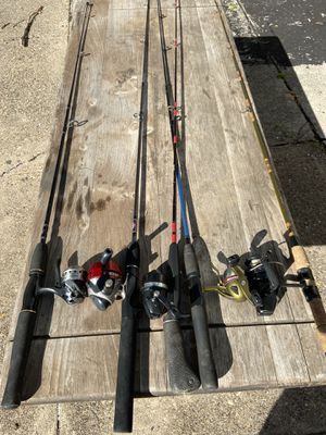 Various types of fresh water fishing rods, reels and lines combos for children . $25 each. for Sale in Philadelphia, PA