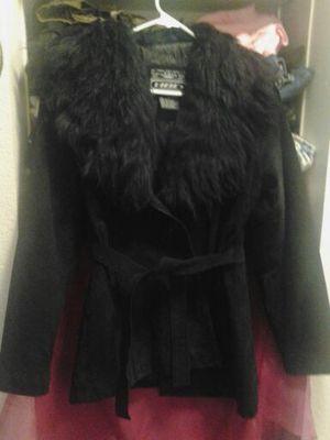 Black leather fir trimed coat for Sale in Portland, OR