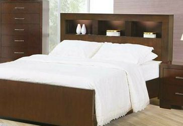 NEW MODERN QUEEN OR KING SIZE PLATFORM BED WITH STORAGE HEADBOARD AND LIGHTING for Sale in Wayne,  PA