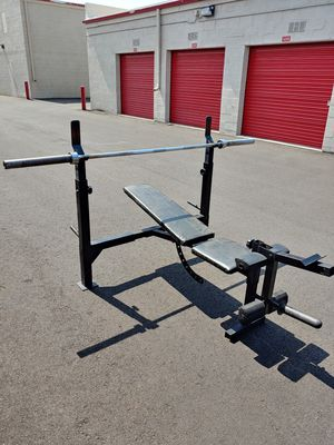 Olympic weight bench with olympic bar for Sale in Phoenix, AZ