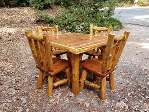 Rustic Red Heart Cedar Log Wood Square Dining Table Set with 4 Chairs for Sale in Nevada City, CA
