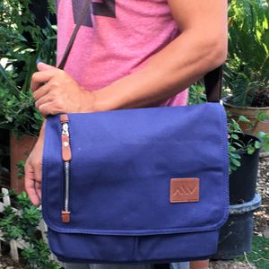 "New 14"" Canvas Messenger Bag Blue Laptop Book Bag for Sale in Norco, CA"