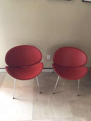 2 Modern Red Chairs w/ Chrome Legs ( Each) for Sale in Miami, FL