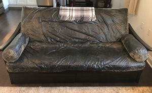 FREE Couch / Beautiful black leather queen futon for Sale in Union City, NJ