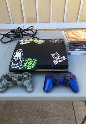 PS3 slim console used, cords, 2 controllers DualShock 6 Games and 320gb storage for Sale in San Diego, CA