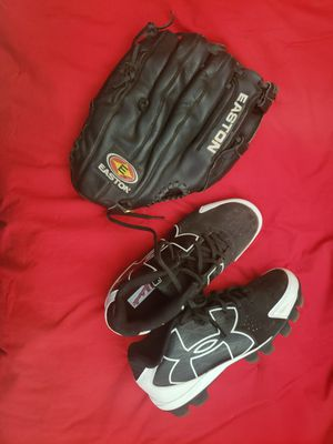 Easton Baseball Mitt / Baseball Glove and Underarmor cleats size 5Y (Fits a 7 womens) for Sale in Tempe, AZ