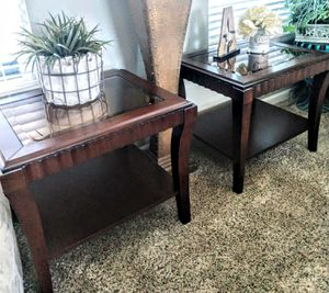 """Set of Wooden End Tables 1-Shelf Smoked Glass Top 23"""" x 28"""" x 24"""" for Sale in Arvada, CO"""