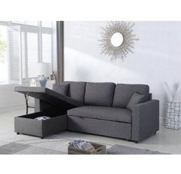 Brand New Linen Pull Out Sectional Sofa Reversible Chaise for Sale in Chino Hills,  CA
