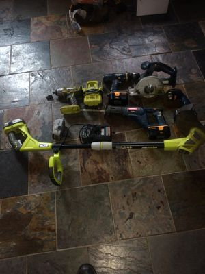 """Used, Hammer drill, 1/2"""" drive impact, w/ adapter, trimmer works electric or battery.cidcular saw, sawzall, flashlight,4 battery and 2 chargers. for Sale for sale  Cranford, NJ"""