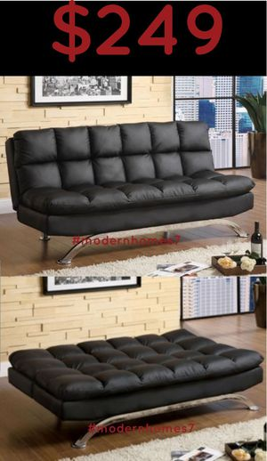 super comfortable black leather sofa bed sleeper couch for Sale in Chino, CA