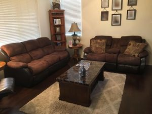 Couch, Loveseat, Coffee and 2 End Tables, Rustic Wall Unit for Sale in Sun City, AZ