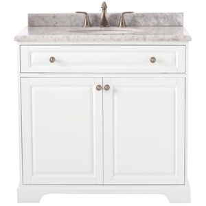 HIGHCLERE 36 IN. W X 22 IN. D VANITY IN WHITE WITH CARRERA MARBLE VANITY TOP IN WHITE WITH WHITE SINK for Sale in Houston, TX