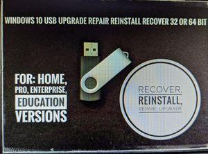 Microsoft Windows 10 32 64bit Home Pro USB Flash Drive Install Repair Recover Pc for Sale in San Jose, CA