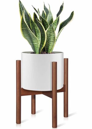 Homemaxs Plant Stands Indoor, Mid Century Plant Holder Indoor Display Stand - Unique Adjustable Feet Design,10 Inch Modern Tall Plant Stand Bamboo Pl for Sale in El Monte, CA
