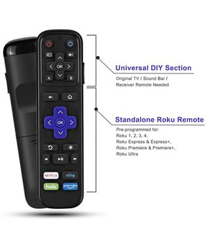 Universal IR Remote Replacement for Roku Streaming Player with 13 Extra Learning Buttons to Control TV Soundbar Receiver All in One (for Roku 1 2 3 4 for Sale in Upland, CA
