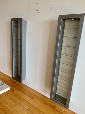 Wall-Mounted Steel and Glass Shelving Unit with Light - A Pair for Sale in Chicago, IL