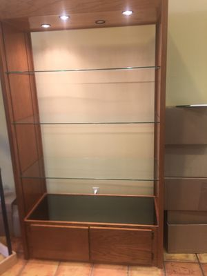Wood display cabinet for Sale in Sun Lakes, AZ
